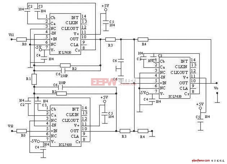 ICL7650构成的弱信号前置放大电路