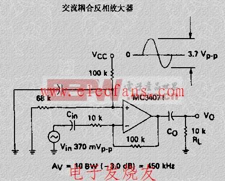 交流耦合反相放大器电路