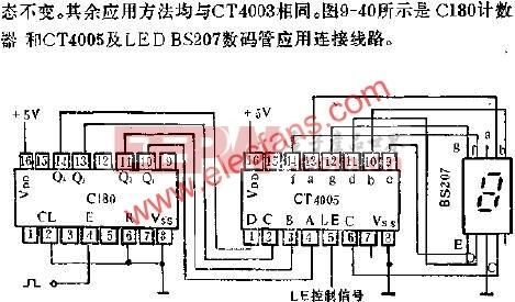 C180计数器与CT4005及LED BS207数码管应用连接电路图  www.elecfans.com