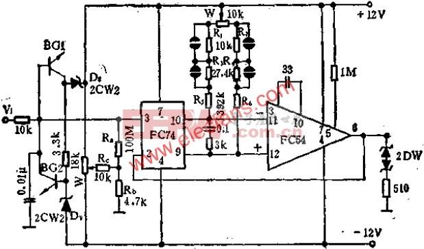 FC74与FC54运放组成的电压跟随器电路图