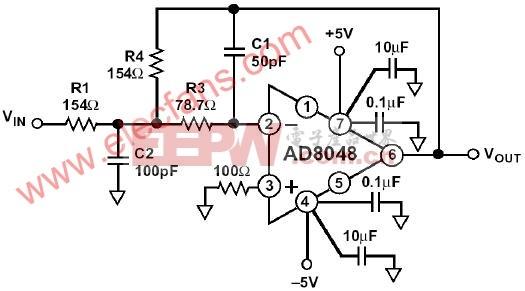 基于ad8048的电压反馈运算放大器电路图