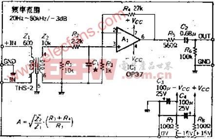 用平衡输入电路抑制共模噪声的话筒放大器