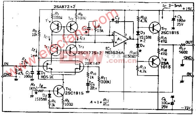 用于高阻抗电路的低失真、低噪声放大器