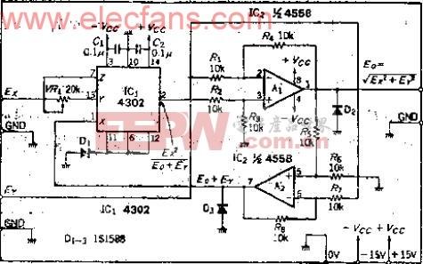 使用多功能运算IC的向量运算电路