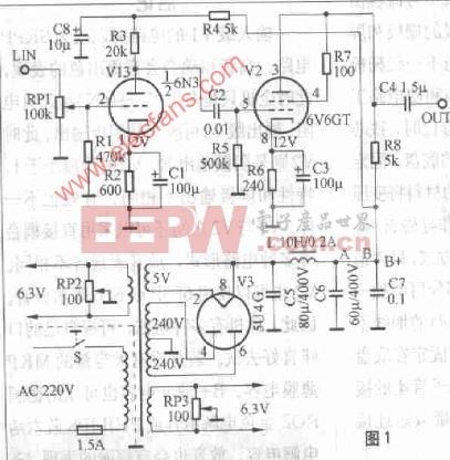 6N3 6v6GT 5U4G电子管前级功放电路 带电源电路图片