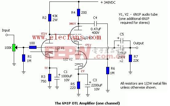 管6n1组成的OTL放大器电路图片