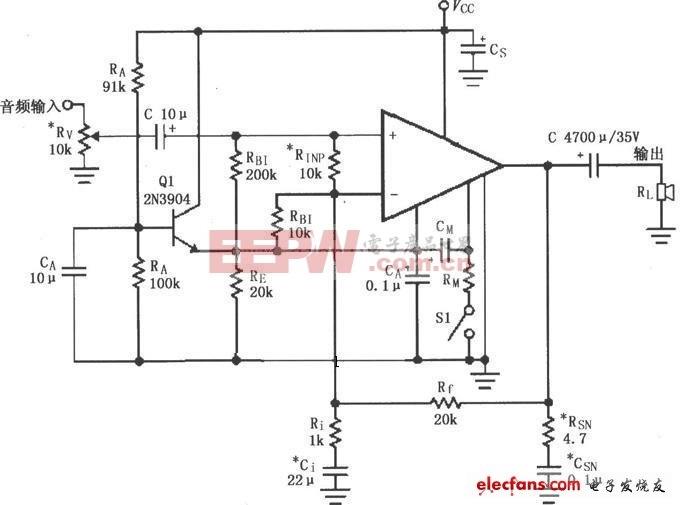 LM4781构成的单电源功放电路