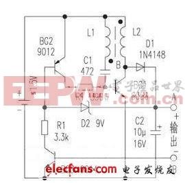 数字万用表开关电源电路(1.5V升9V)