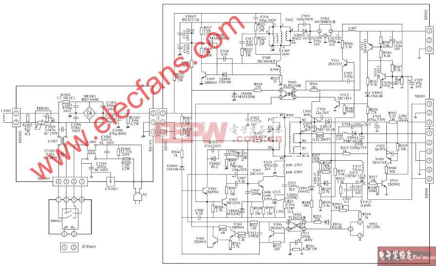 康佳T2510N T2512N彩电开关电源电路图片