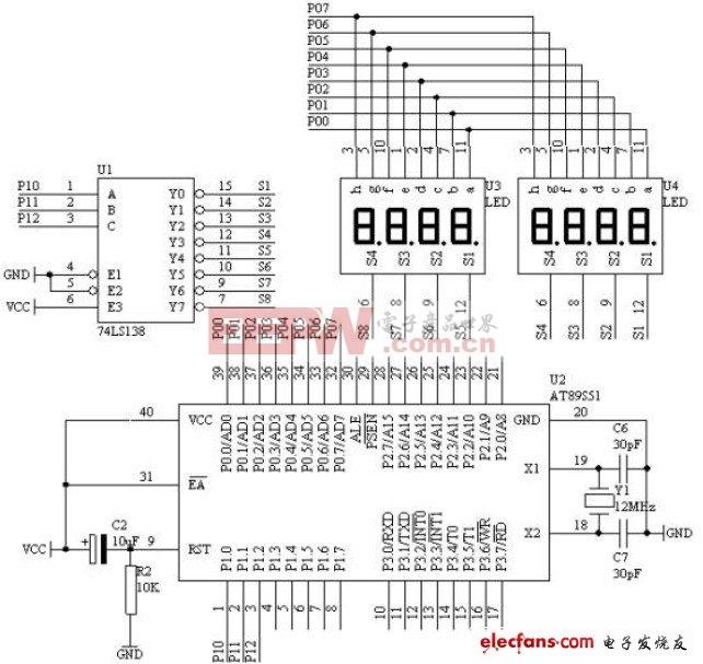 拉幕式数码显示电路原理图