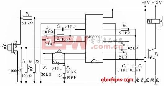 采用芯片BISS0001的热释电红外传感器电路