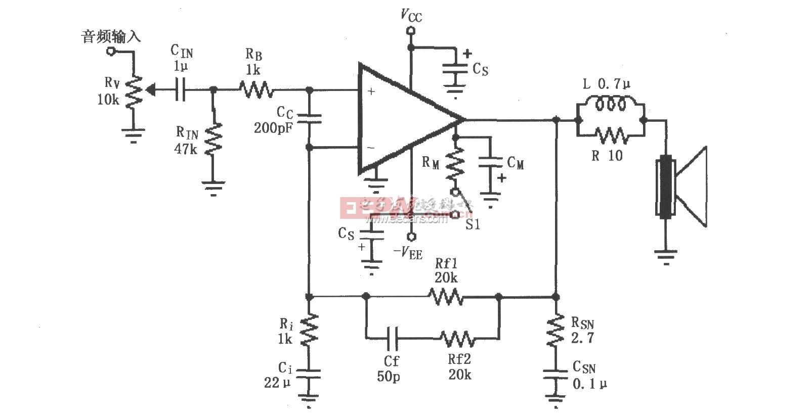 LM4732构成的辅助音频功率放大电路图