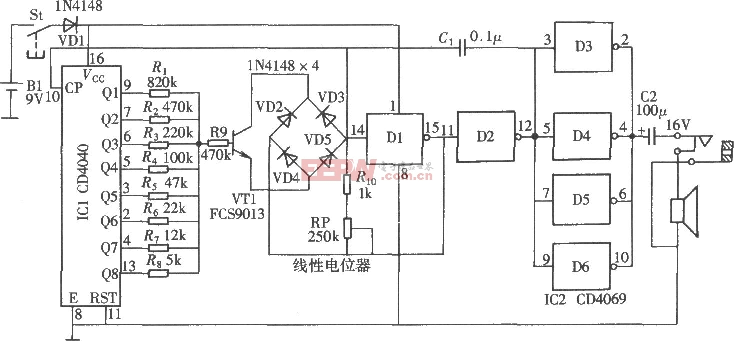 CD4040 CD4069构成的独特声效发生电路图高清图片