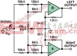 双通道低失真差动放大器AD82731的音频Panpot电路