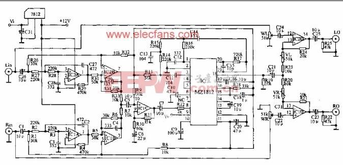 可以产生超重低音的电路图 www.elecfans.com