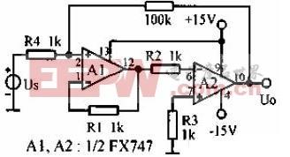 零漂移反相放大器电路