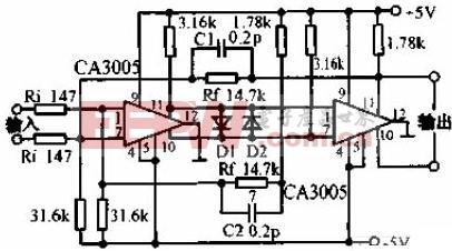 20MHZ频宽的差分放大器电路