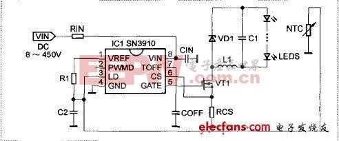 LED驱动芯片SN3910特点及应用电路