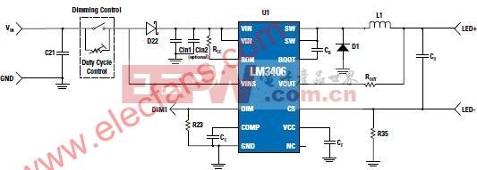 采用具备双线调光功能的LM3406降压稳压器的MR16照