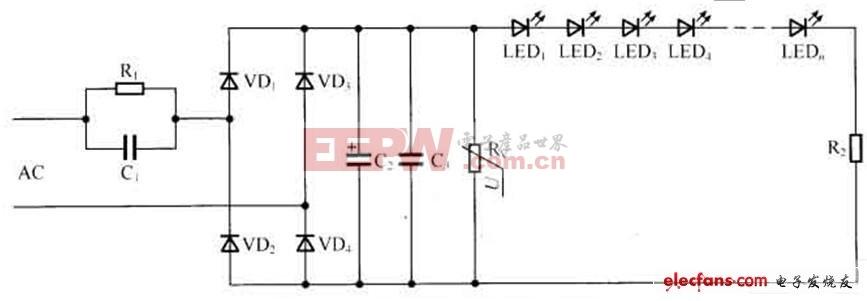 压敏电阻构成的LED驱动电路