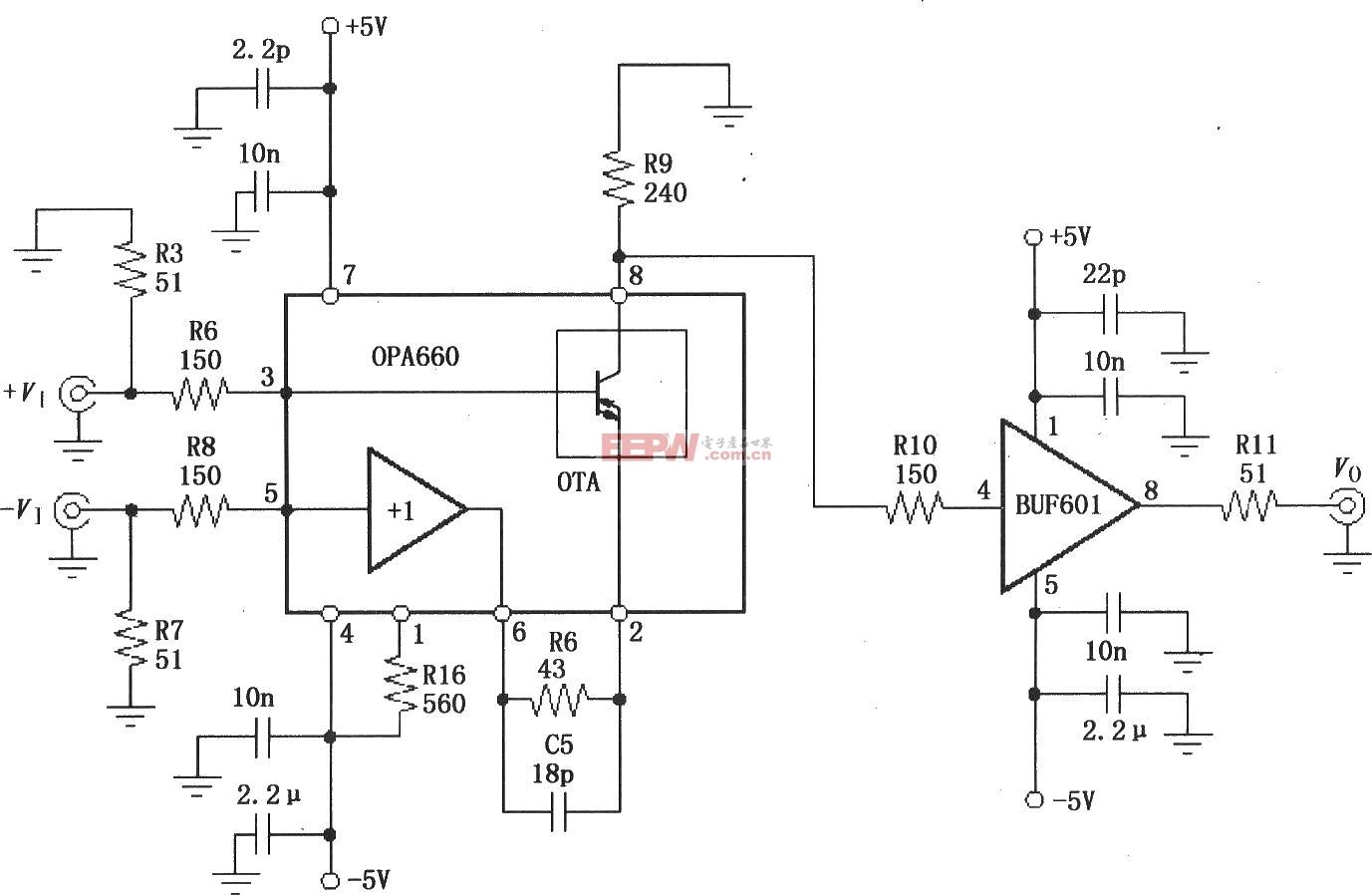 由宽带跨导型运算放大和缓冲器OPA660与缓冲放大器BUF601构成的40
