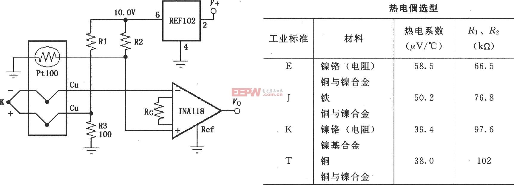 INA118组成的有冷端补偿的热电偶放大电路图