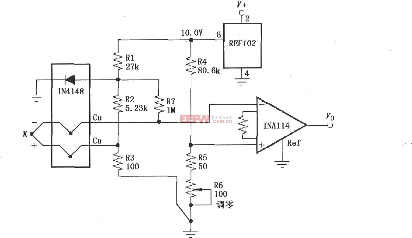 如图所示为具有冷端补偿的热电偶放大电路。二极管1N4148在200μA时为-2.1mV/oC,热电偶为K型。如果选用其他类型热电偶,电阻取值如下表所示。