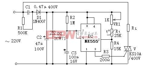 采用555时基电路的简易温度控制器电路图-采用555时基电路的简易图片