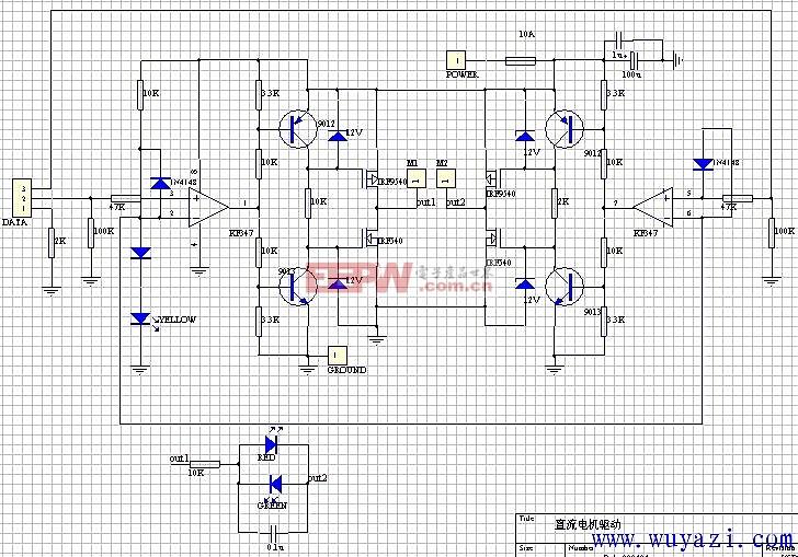 """1.输入与电平转换部分: 输入信号线由DATA引入,1脚是地线,其余是信号线。注意1脚对地连接了一个2K欧的电阻。当驱动板与单片机分别供电时,这个电阻可以提供信号电流回流的通路。当驱动板与单片机共用一组电源时,这个电阻可以防止大电流沿着连线流入单片机主板的地线造成干扰。或者说,相当于把驱动板的地线与单片机的地线隔开,实现""""一点接地""""。 高速运放KF347(也可以用TL084)的作用是比较器,把输入逻辑信号同来自指示灯和一个二极管的2."""
