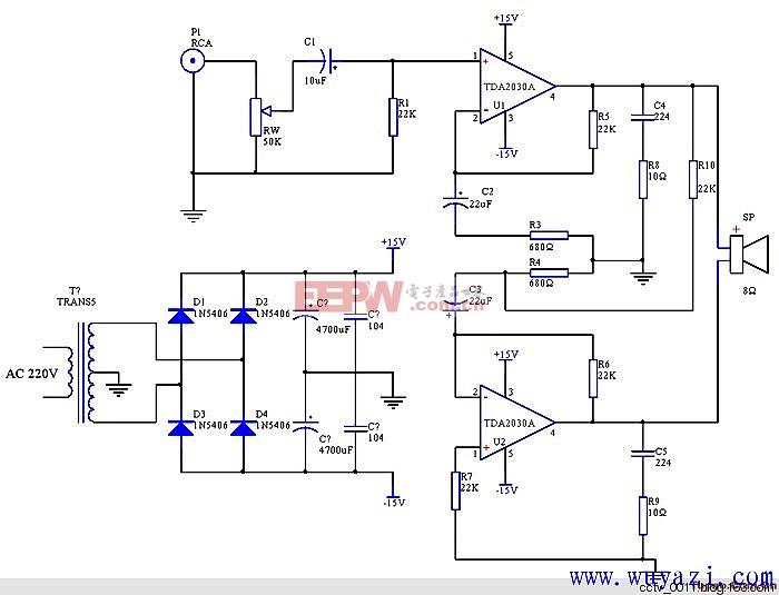 一款30w甲类功率放大器电路图