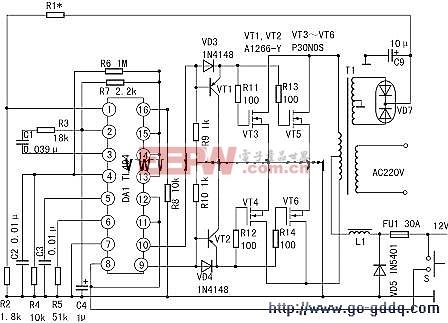 采用TL494的400W直流12V转交流220V逆变器电路图