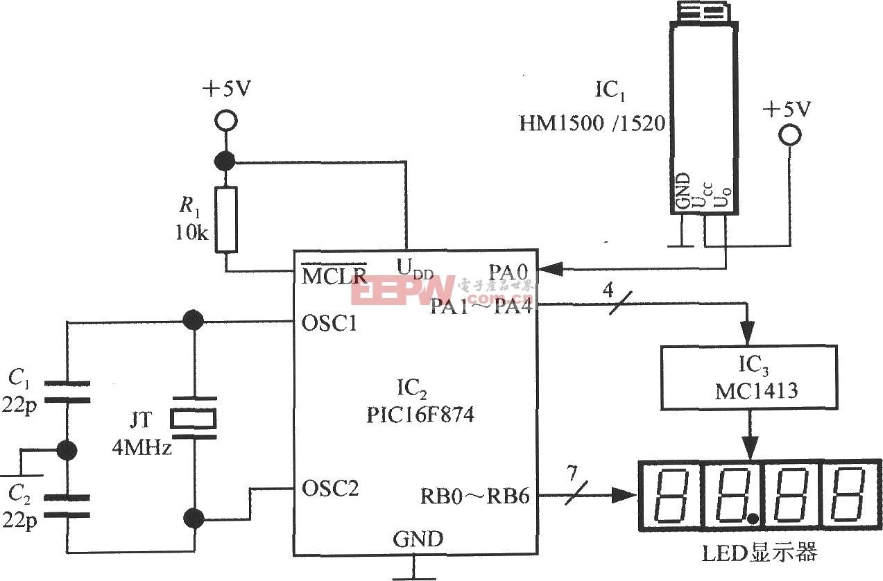 由电压输出式集成湿度传感器HM1500/1520和单片机构成的智能湿度