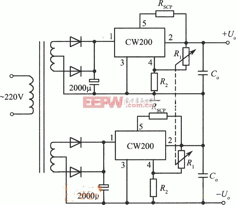 正、负输出电压集成稳压电源(CW200)电路