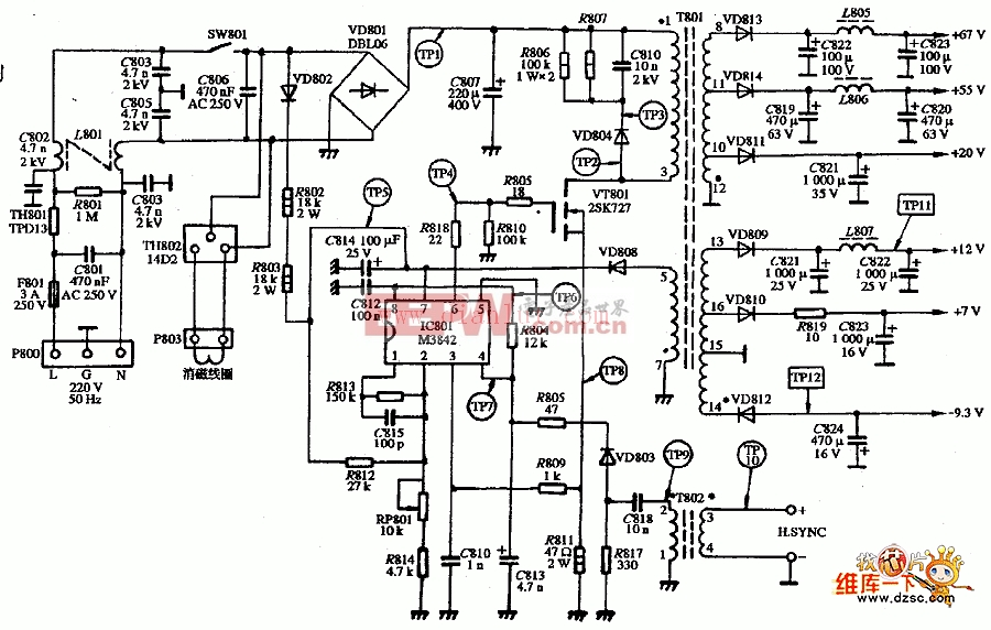 PARCO LFVDX-1448型显示器的电源电路