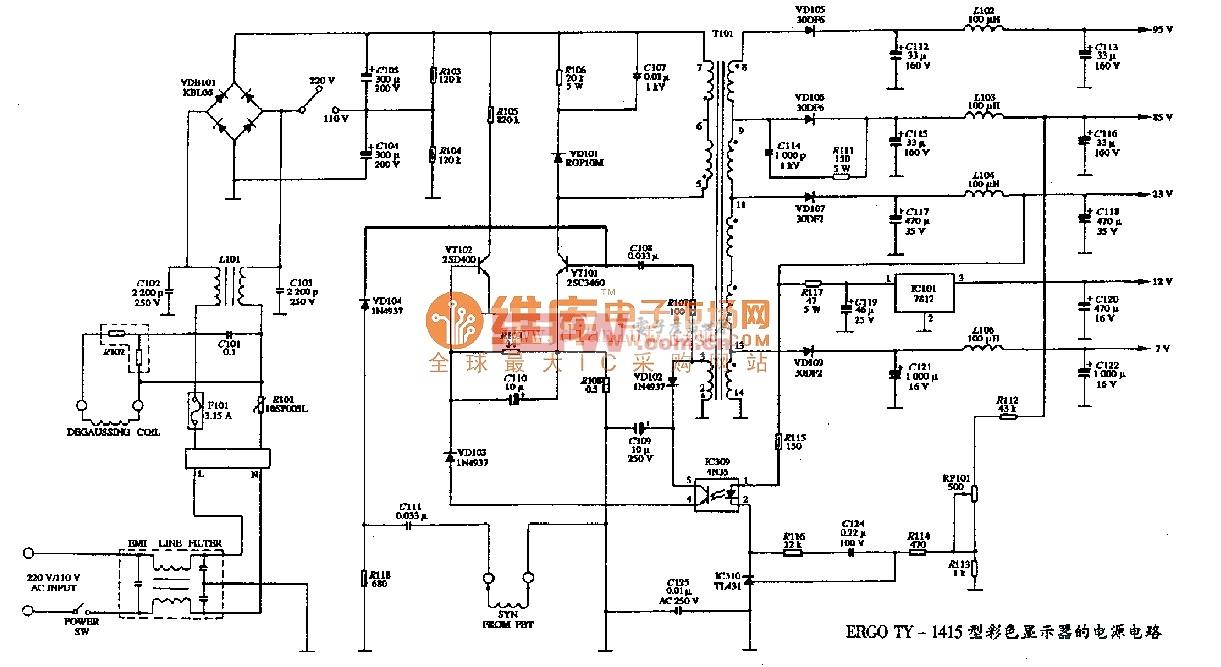 ERGO TY-1415型彩色显示器的电源电路