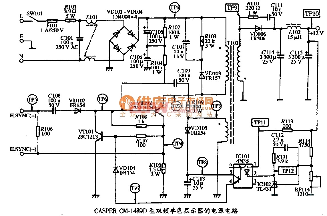 CASPER CM-1489型双频单色显示器的电源电路