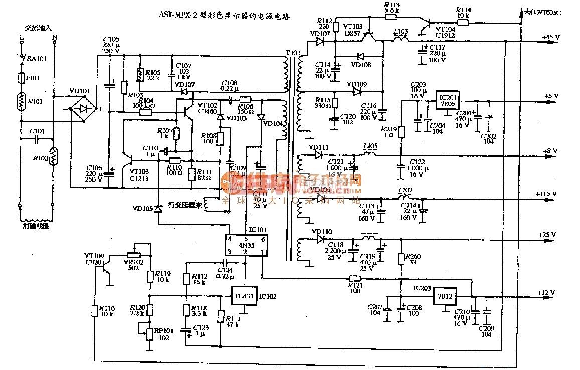 AST MPX-2型彩色显示器的电源电路