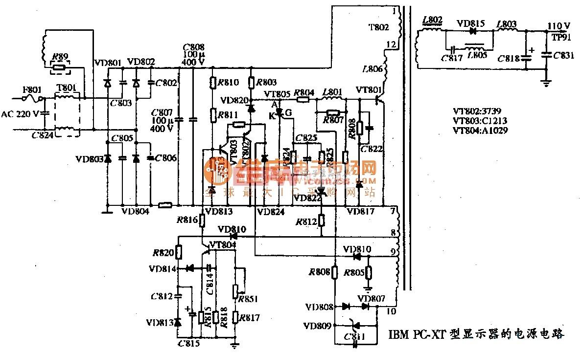 IBM PC-XT型显示器的电源电路