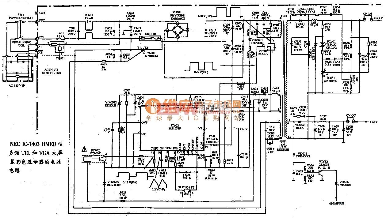 NEC JC-1403HMED型多频TTL和VGA大屏幕彩色显示器的电源电路