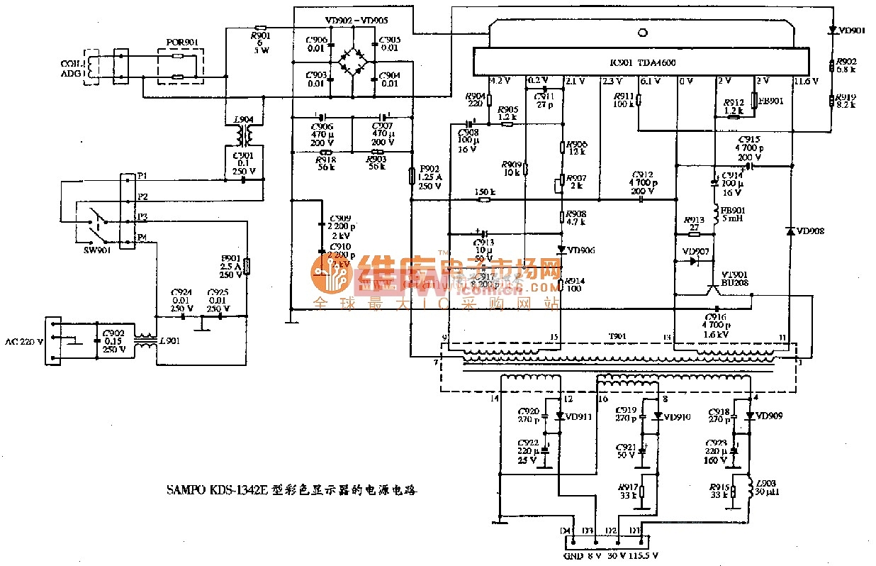 SAMPO KDS-1342E型彩色显示器的电源电路