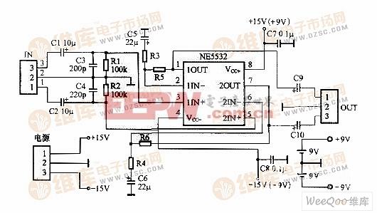 一、原理分析   NE5532是典型的双极型输入运算放大器,用单个NE5532组成的小功率电路有很多版本,本人通过不断地对比和思考,对那些五花八门的电路图作了修改,最终确定了原理图(图1)。放大倍数是由R3(R4)和R5(R6)来控制的,理论上说如果R3(R4)为1k,R5(R6)为100k,则其放大倍数为100倍,但对于耳放来说,这会引起自激,再说就算真的能达到100倍,效果也不可能好,所以这个电路用于前级时也最好别调成100倍。当然,对于耳放定2~3倍可以让负反馈适量、音质柔和、清晰更通透,但