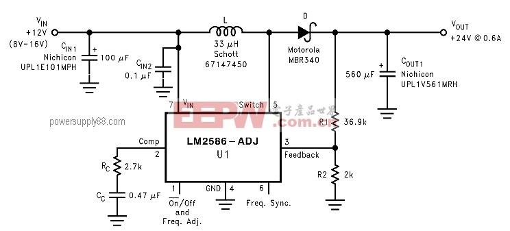 基于LM2586的+12 V至+24 V直流电压倍压电路
