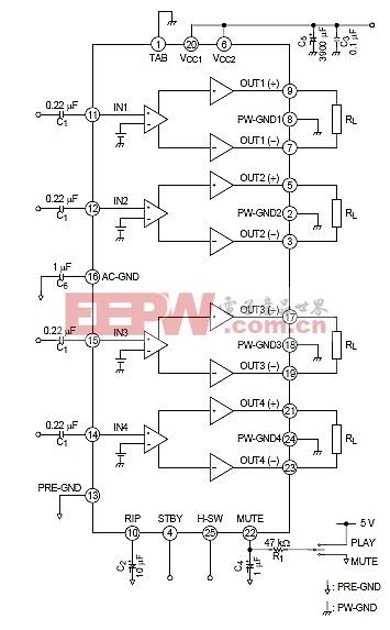 tb2901hq汽车音响放大器电子项目设计产量为4通道的btl音频功率