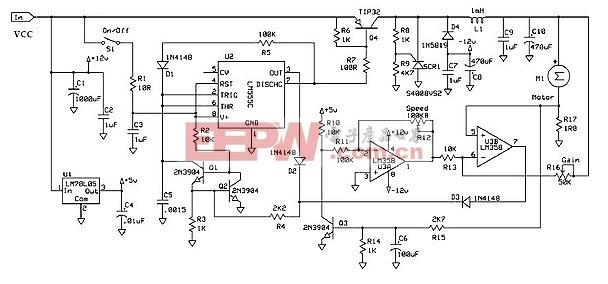 使用555定时器直流电机调速器