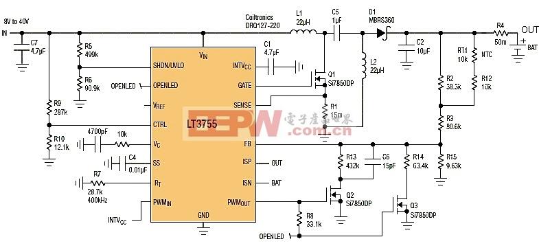 LT3755密封铅酸(SLA)电池充电器