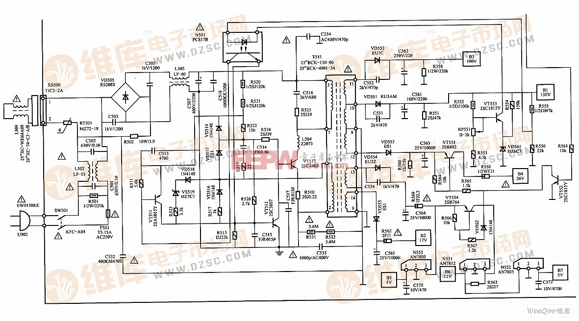 创佳cj-14机芯彩色电视机开关电源电路图