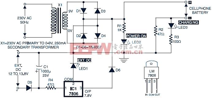 下图是一个简单的手机电池充电器电路。设计简单,易于建立和廉价。它使用LM78XX调节,使输出电压调节和稳定。   手机在市场上提供的充电器是相当昂贵的。这里显示电路显示了作为一个低成本的选择收取手机或电池组,有一个7.2伏的评级,例如诺基亚6110/6150。   220-240V交流电源下台9V交流变压器X1。变压器的输出整流二极管D1至D4连接桥配置和积极的直流电源是直线有线充电器的输出接点,而负端通过限流电阻R2连接。   LED2的工作作为一个电阻R1为电流限制器和LED3服务,标志着充电状态