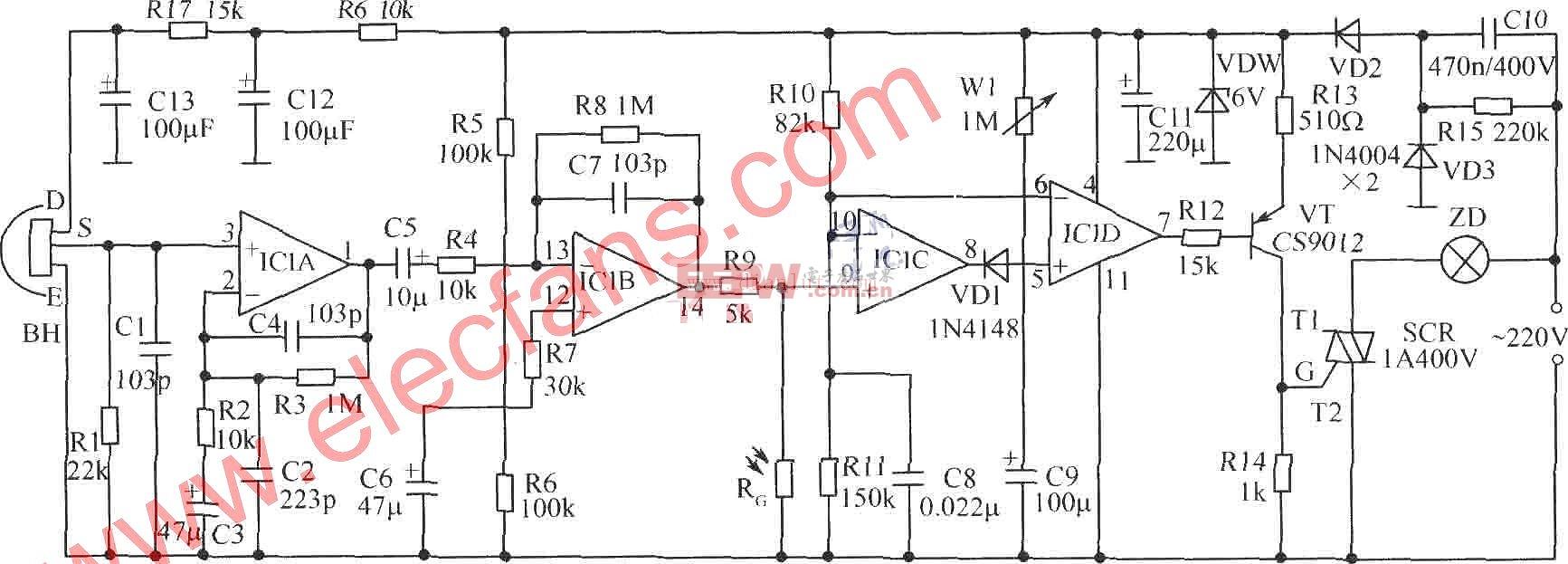 """如图所示为水塔水位控制器电路。图中,IC2可用各种555时基集成电路。IC3为红外接收解码集成电路 CX20106A。IC4可用4N25、4N26、PC817等光电耦合器。红外接收部分亦可购买成品红外接收组件或一体化红外接收头,可方便制作,提高可靠性。VD1、VD2和VD3选用电视遥控器用红外发射、接收二极管。J选用国产新型记忆自锁继电器,该产品外形与普通继电器相同,不同之处在于吸合后不需维持电流,仅在吸合和释放时需一定脉冲驱动功率,然后由机械结构保持""""锁定""""。主要参数:额定电压1"""