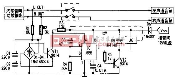 下面是 [汽车音响增加扬声器的保护电路]的电路图    一、工作原理   扬声器保护电路如图1所示。主要由中点电位检测电路、延时电路及继电器等组成。电路工作过程是: 在接通音响电源的瞬间,因电容C3两端电压不能突变,可视为短路,则时基电路555的、脚电位高于2/3 Vcc,故555处于复位状态,脚输出低电平,晶体管VT2截止,继电器JK常开触点不动作。同时+12 V电压通过电阻R4向电容C3充电,延时约5s(秒钟)后555的、脚电位降低至1/3Vcc,555被触发置位,脚由低电平变为高电平,晶体