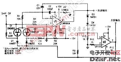 具有方波和三角波输出的10Hz-10KHz压控振荡器(VCO)